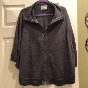 Debbie Morgan Gray Zip-Up Poncho Sweater - Sz Lg